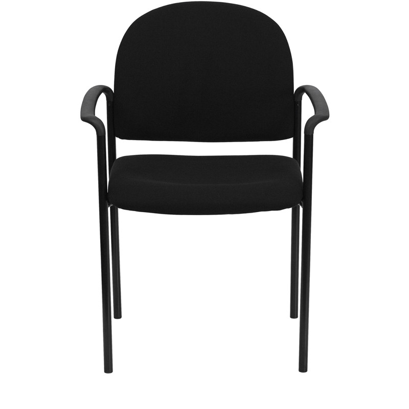 black fabric stack chair with arms front view