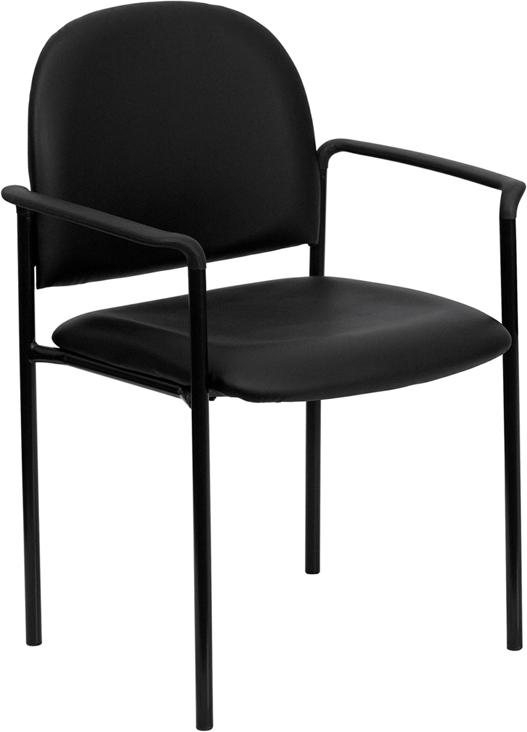 black vinyl stack chair
