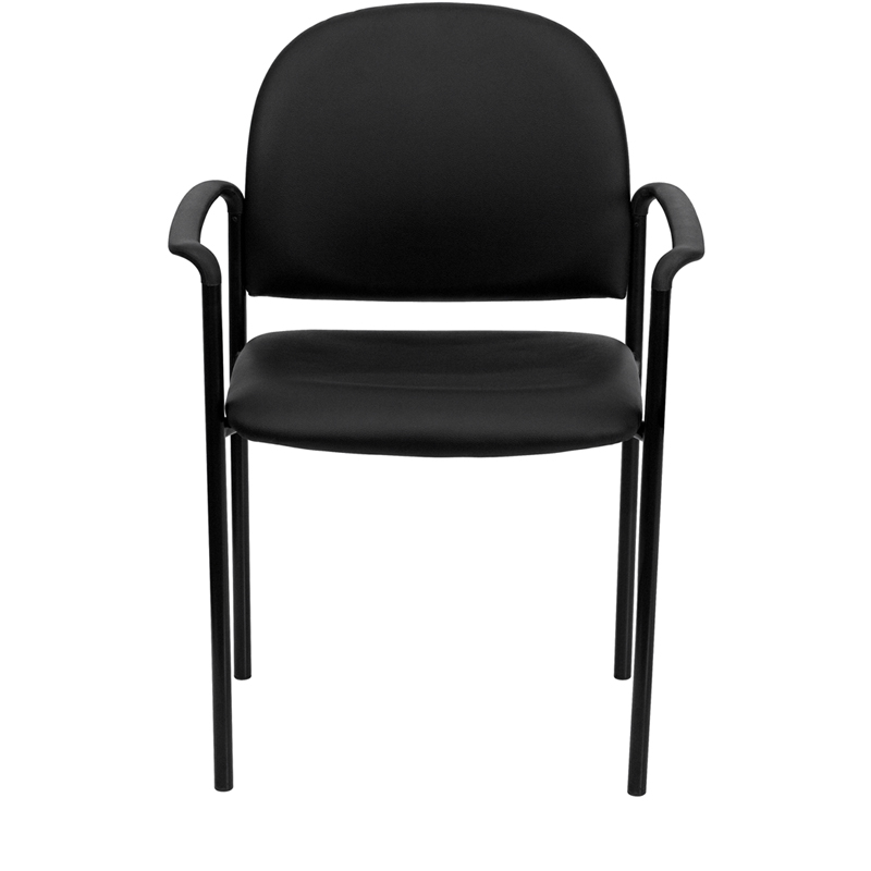 black vinyl stack chair front profile