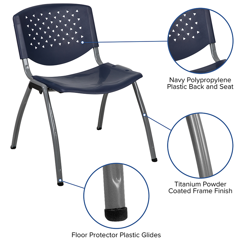 navy blue stack chair features