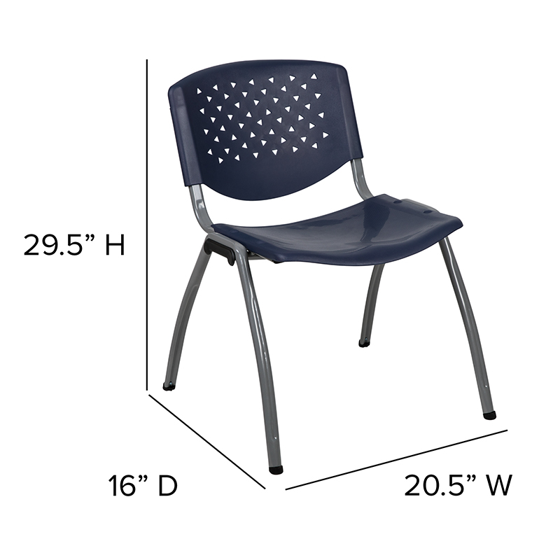 navy blue stack chair dimensions