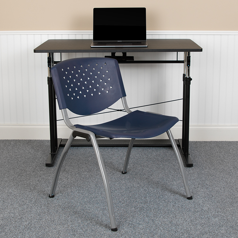 navy blue stack chair in office interior