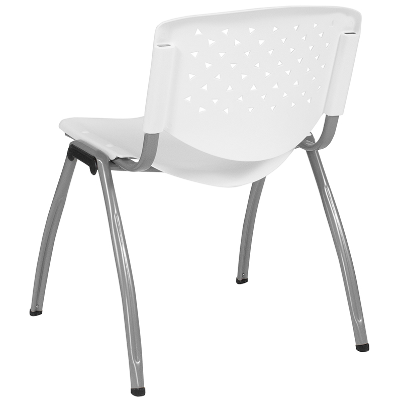 white stack chair back
