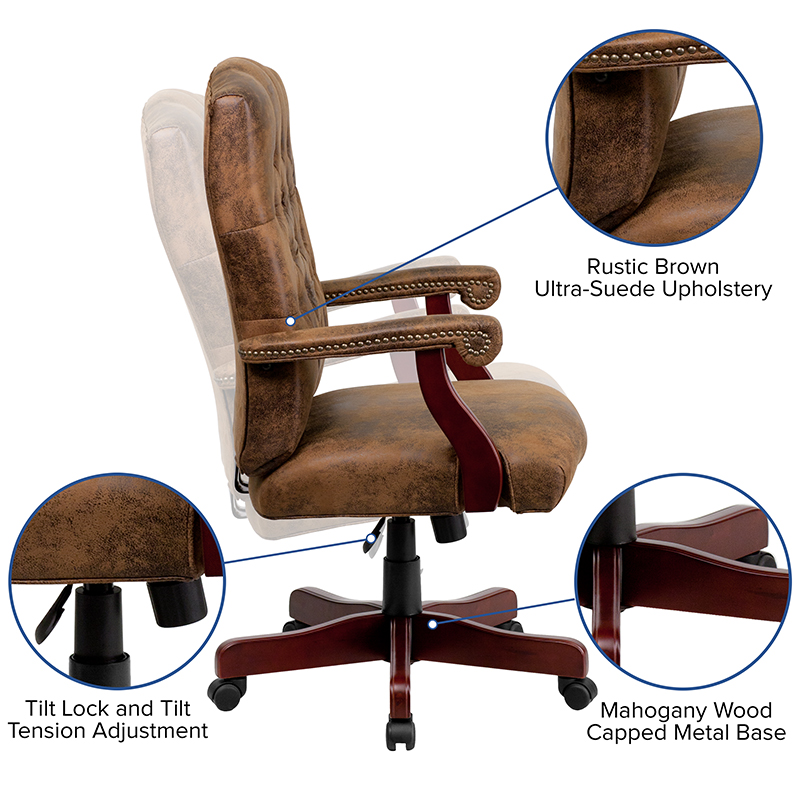 tufted suede office chair features
