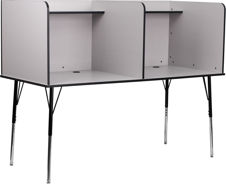 2 person gray study carrel with adjustable legs