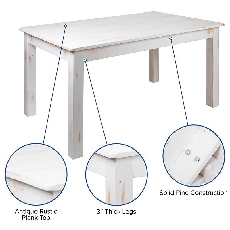 white farm table features