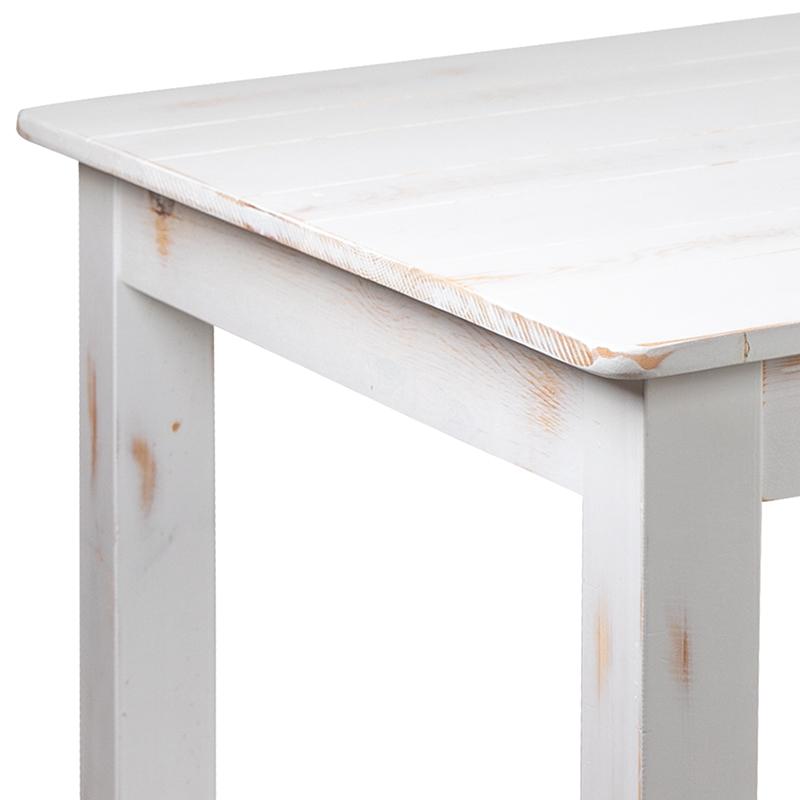 white farm table detail