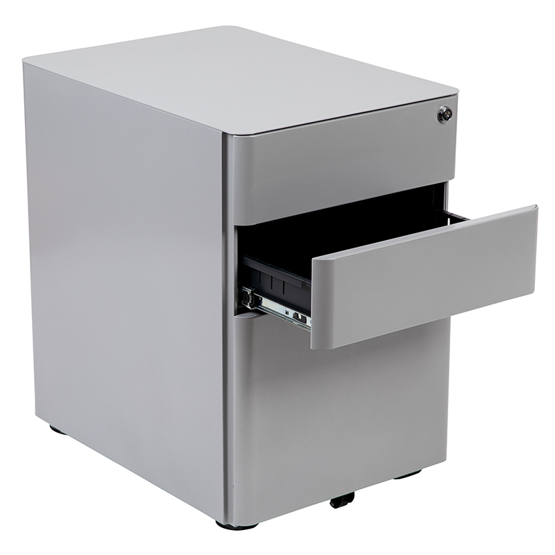 gray desk pedestal with open drawer