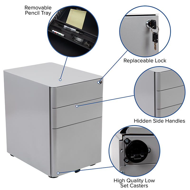 gray desk pedestal features