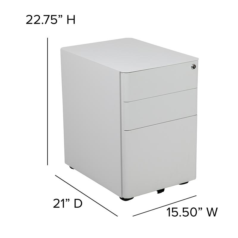 white mobile file pedestal dimensions