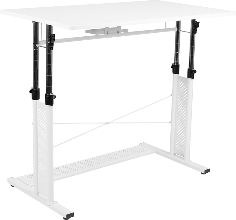 white height adjustable multi purpose workstation