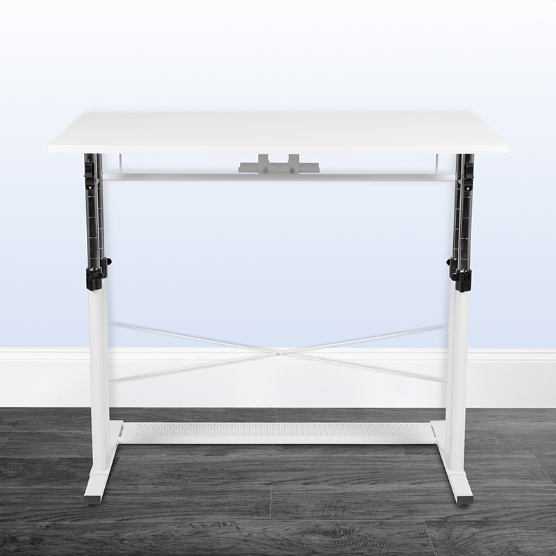 white height adjustable multi purpose workstation in office space