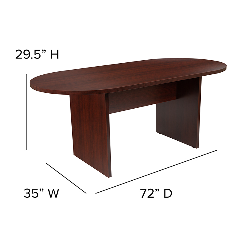 6' oval mahogany conference table dimensions