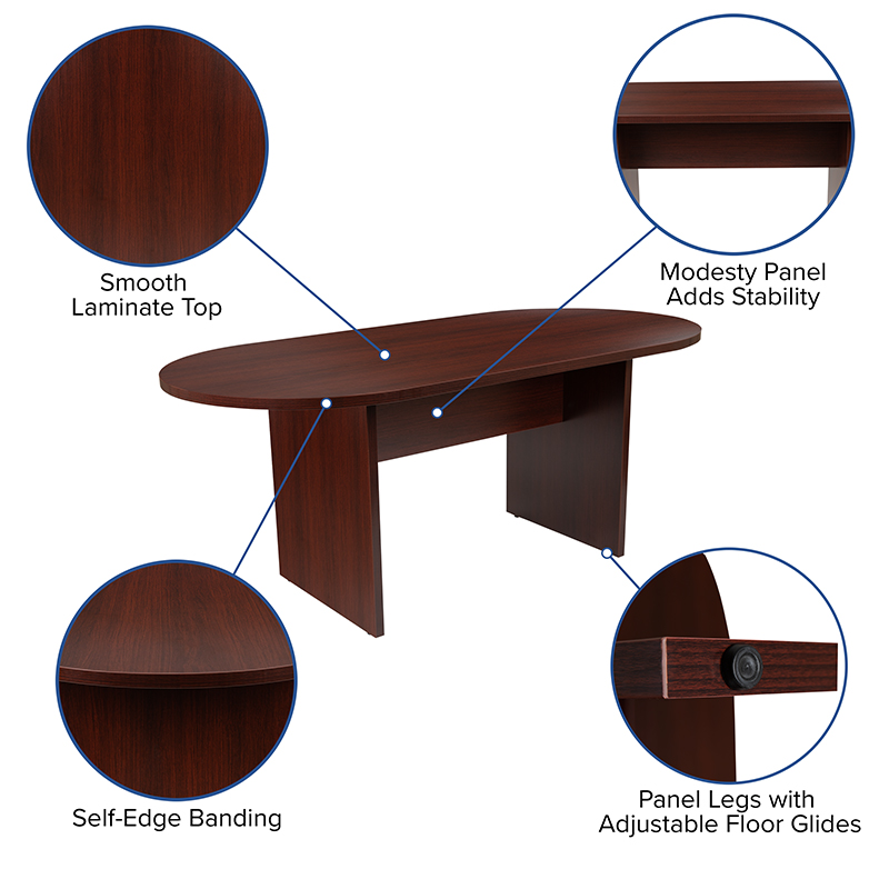 6' oval mahogany conference table features