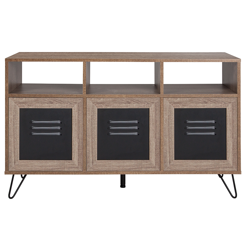 flash furniture rustic storage console front view