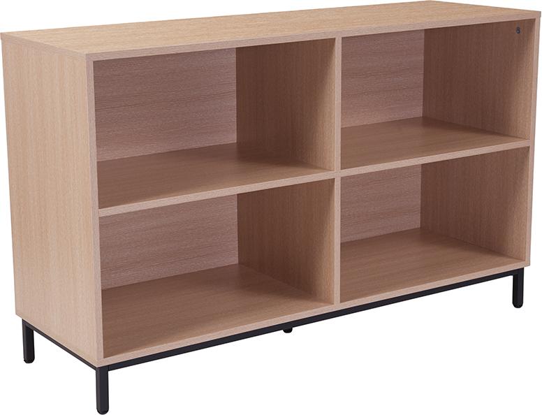 flash furniture open bookcase with oak finish