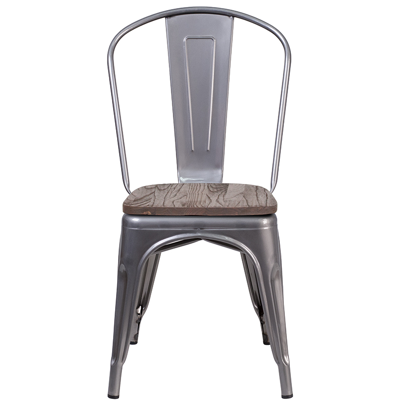 metal restaurant stack chair with wood seat