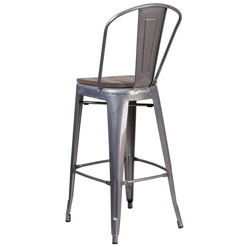 metal restaurant bar stool with wood seat back view