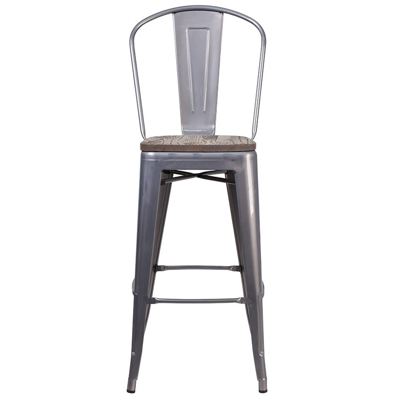 metal restaurant bar stool with wood seat front view
