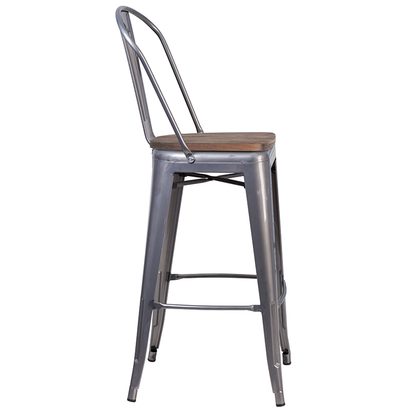 metal restaurant bar stool with wood seat side view