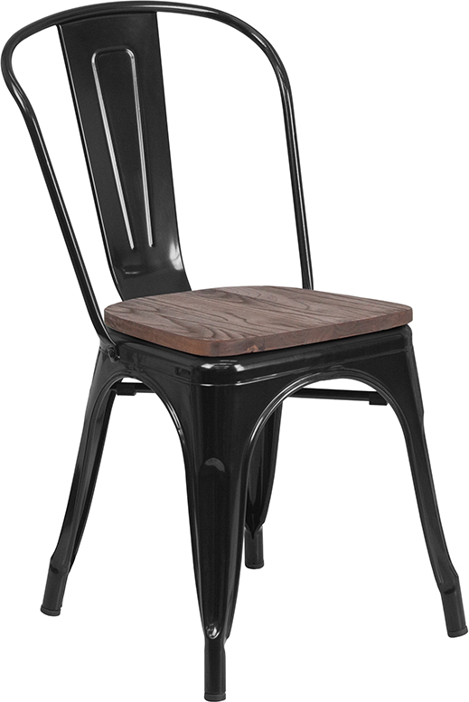 black metal restaurant stack chair with wood seat