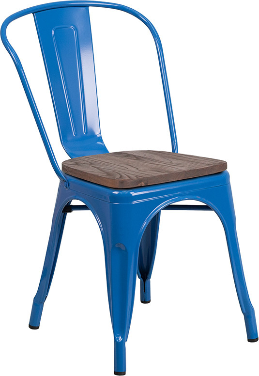 blue metal restaurant stack chair with wood seat