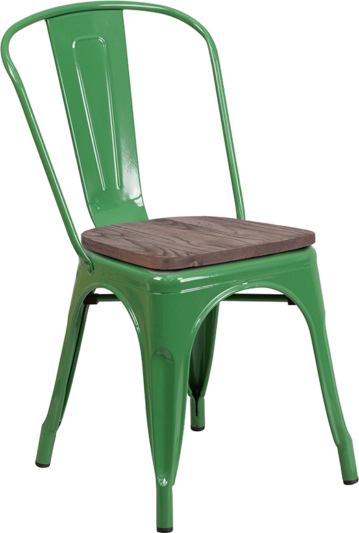 green metal restaurant stack chair with wood seat