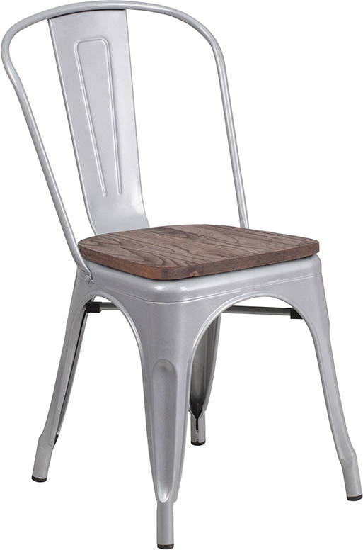 silver metal restaurant stack chair with wood seat