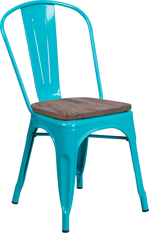 crystal teal blue metal restaurant stack chair with wood seat