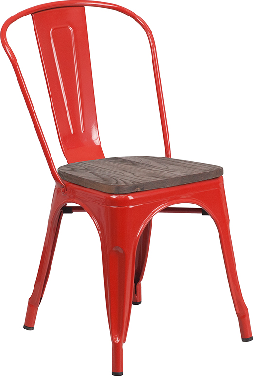 red metal restaurant stack chair with wood seat