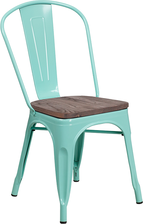 mint green metal restaurant stack chair with wood seat
