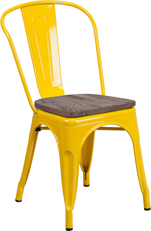 yellow metal restaurant stack chair with wood seat