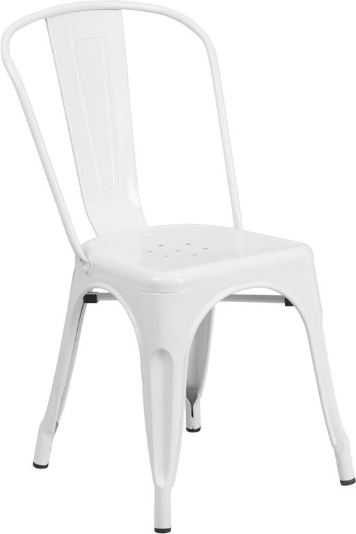 white metal restaurant stack chair