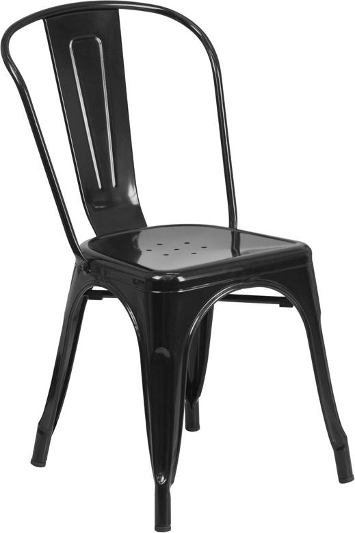 black metal restaurant stack chair