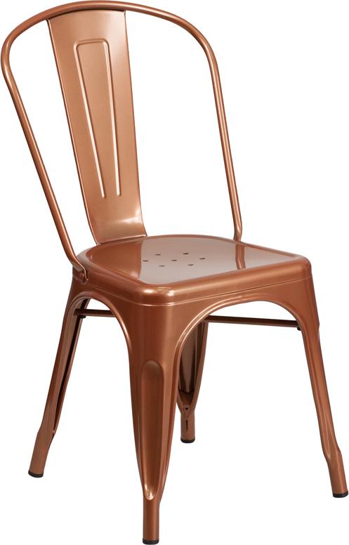 copper metal restaurant stack chair