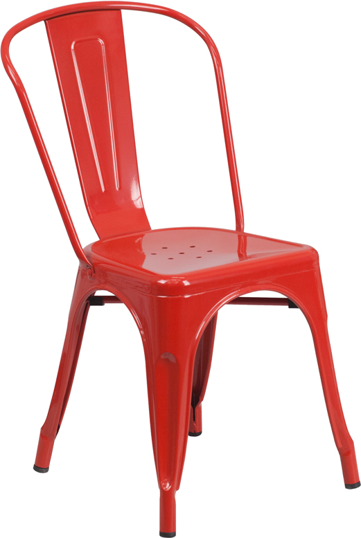 red metal restaurant stack chair
