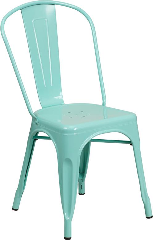 mint green metal restaurant stack chair