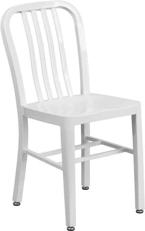 white metal slat back stack chair