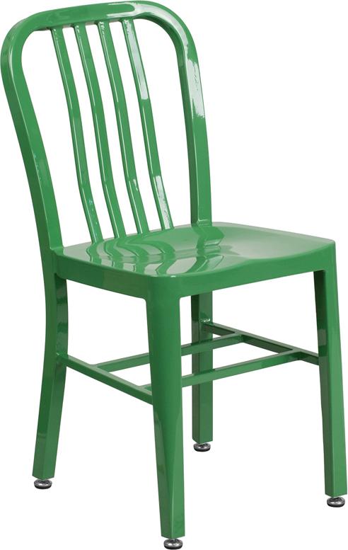 green metal slat back stack chair