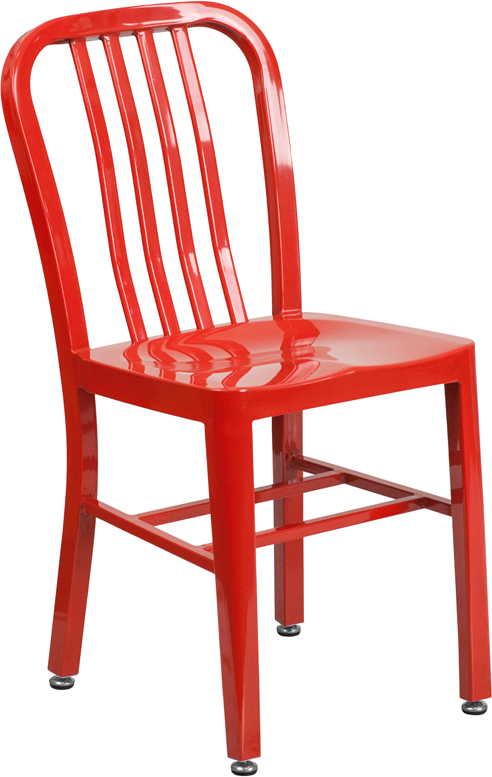 red metal slat back stack chair