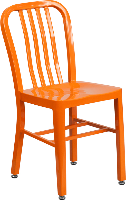 orange metal slat back stack chair