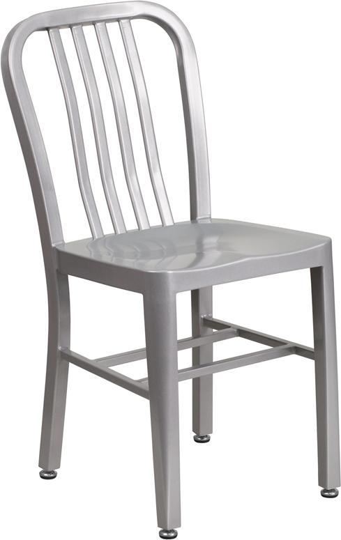 silver metal slat back stack chair
