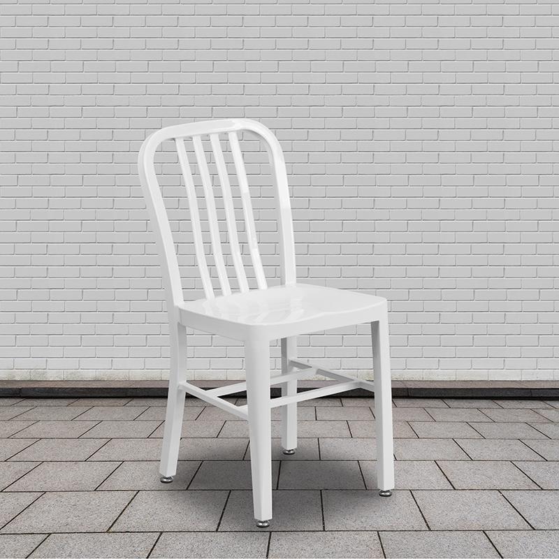 slat back metal chair