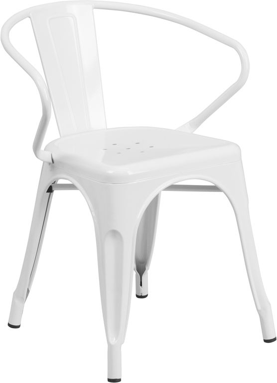 white metal restaurant stack chair with arms