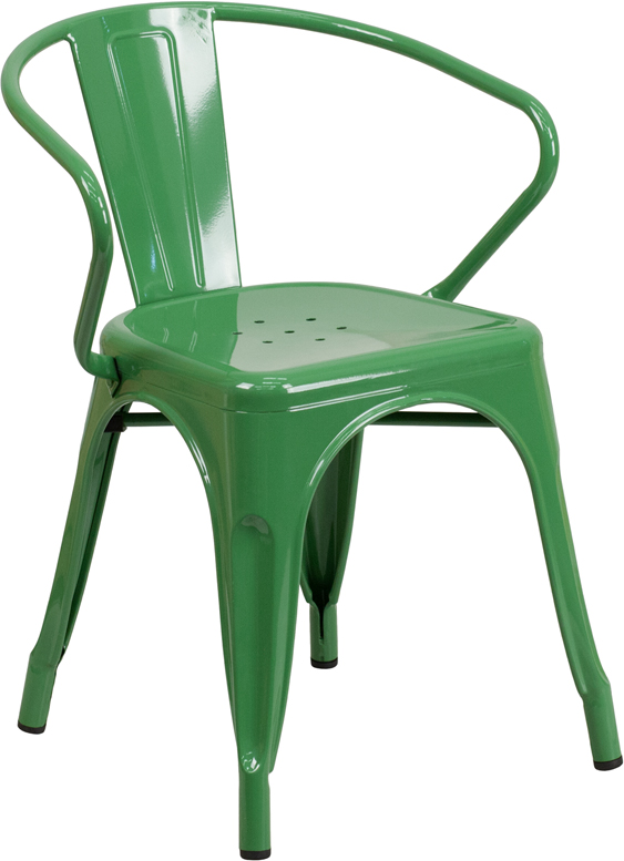 green metal restaurant stack chair with arms
