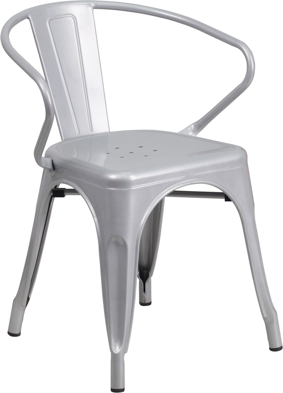 silver metal restaurant stack chair with arms