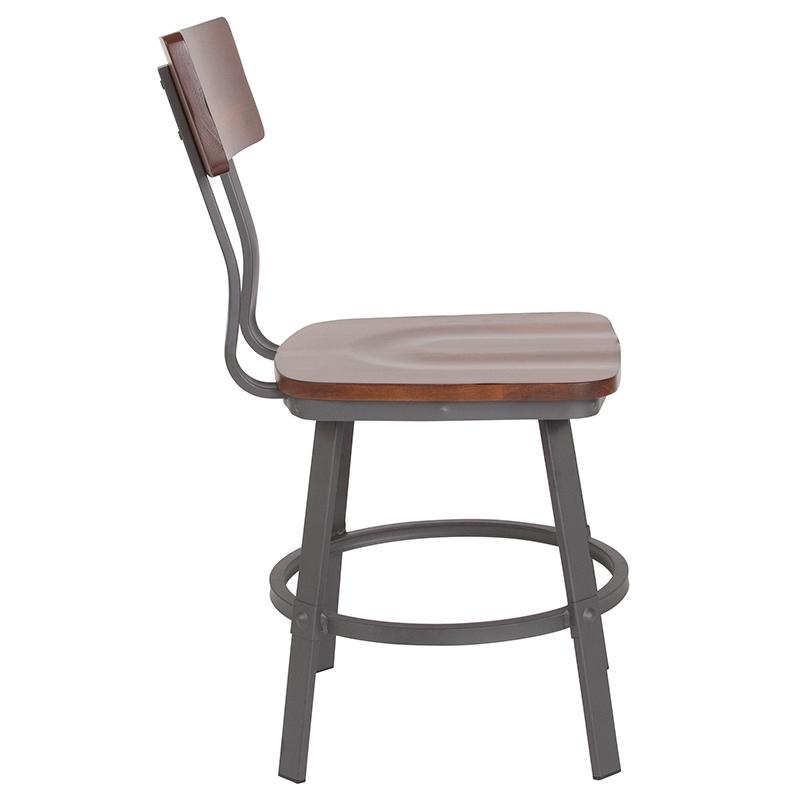 rustic walnut restaurant chair