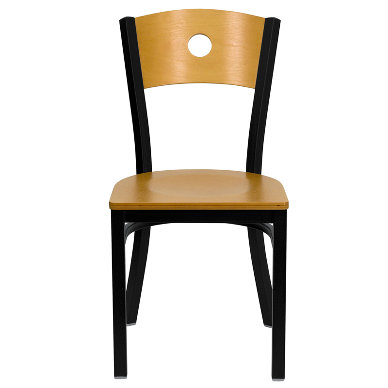 metal guest chair with natural seat and back