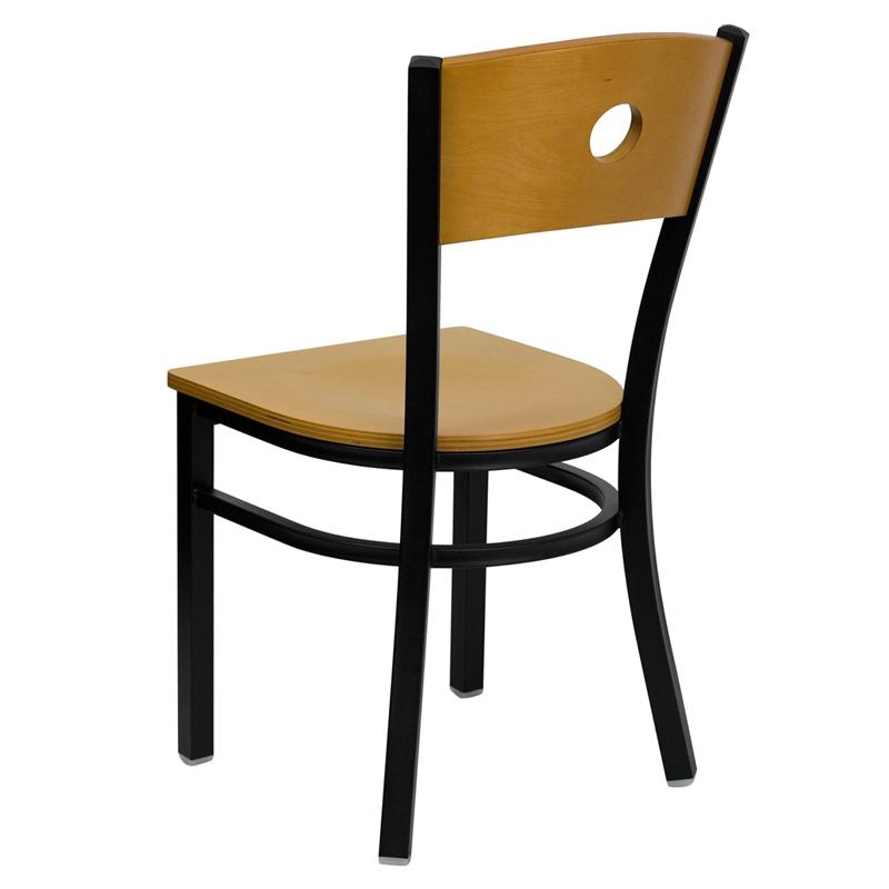 metal restaurant chair back view