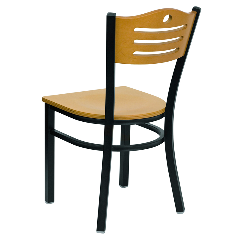 natural wood seat and back restaurant chair back view